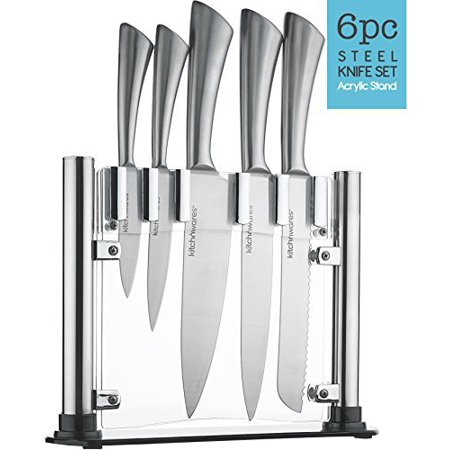 6 piece stainless steel knife set with acrylic stand cutlery set for cutting carving great. Black Bedroom Furniture Sets. Home Design Ideas
