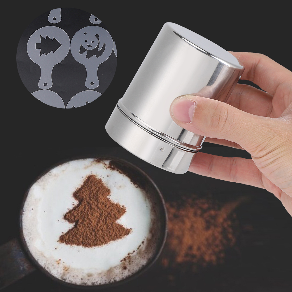 Dilwe Stainless Steel Chocolate Shaker Cocoa Flour Coffee Sifter Art Stencil Molds, Cocoa Flour... by