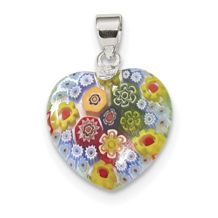- 925 Sterling Silver Multicolored Glass Heart Pendant Charm Necklace Love Ful For Women
