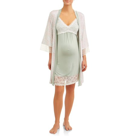 Nanette Nanette Lepore Maternity 2-piece Nursing Snap Down Night Gown and Robe Set ()