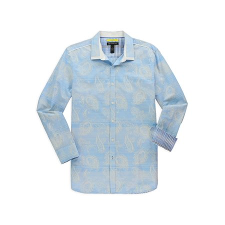 I-N-C Mens Paisley Print Button Up Shirt blue S - image 1 of 1