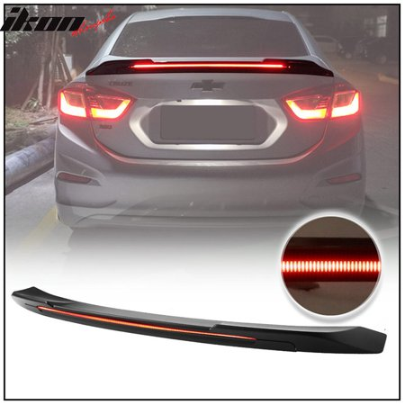 Fits 16-18 Chevy Cruze 4DR Sedan Long LED Style Trunk Spoiler Matte Black - ABS ()
