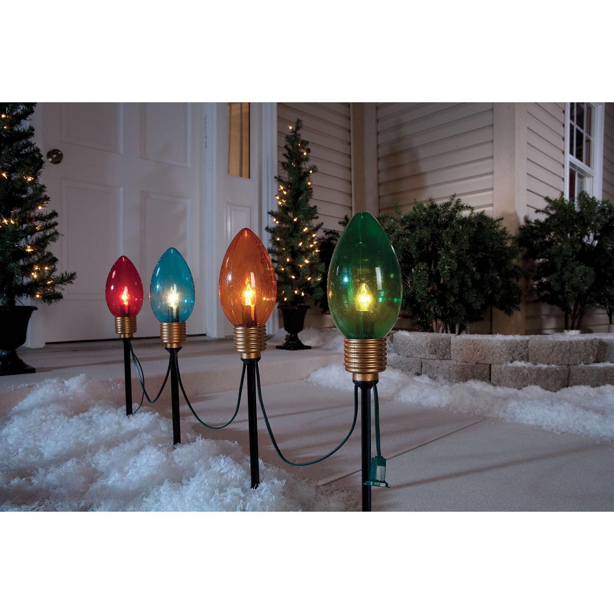 holiday time 8 pathway lights 4ct walmartcom - Led Christmas Pathway Lights