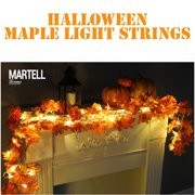 DZT1968 1.7M LED Lighted Fall Autumn Pumpkin Maple Leaves Garland Thanksgiving Decor
