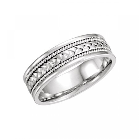 - 14kt White 6.75mm Handwoven Band Size 10 50633 / 14Kt White / 10 / 06.75 Mm / Hand Woven Band