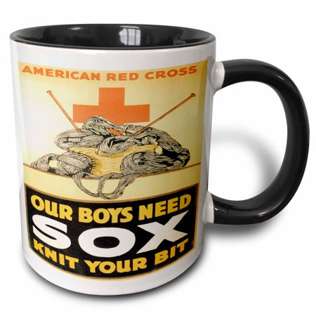 3dRose Vintage American Red Cross Our Boyx Need Sox Knit Your Bit - Two Tone Black Mug,