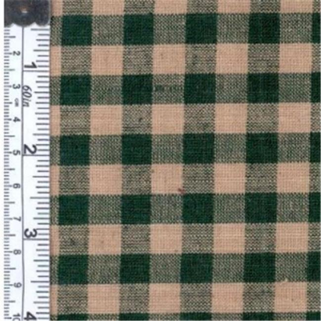 Textile Creations 124 Rustic Woven Fabric, 0.62 Check Green And Natural, 15 yd.