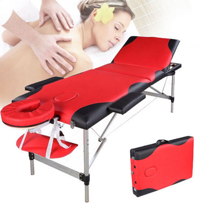 Zimtown 3 Fold Portable Aluminum Massage Table / Bed for Facial SPA and Tattoo , with Carry Case
