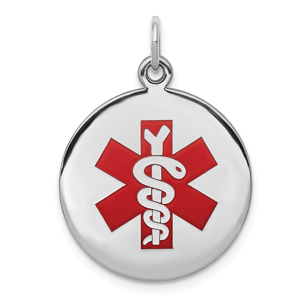 Sterling Silver Engravable Medical Jewelry Pendant