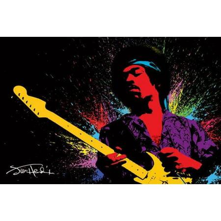 Jimi Hendrix Playing Guitar Paint Splatter Music Poster   36X24