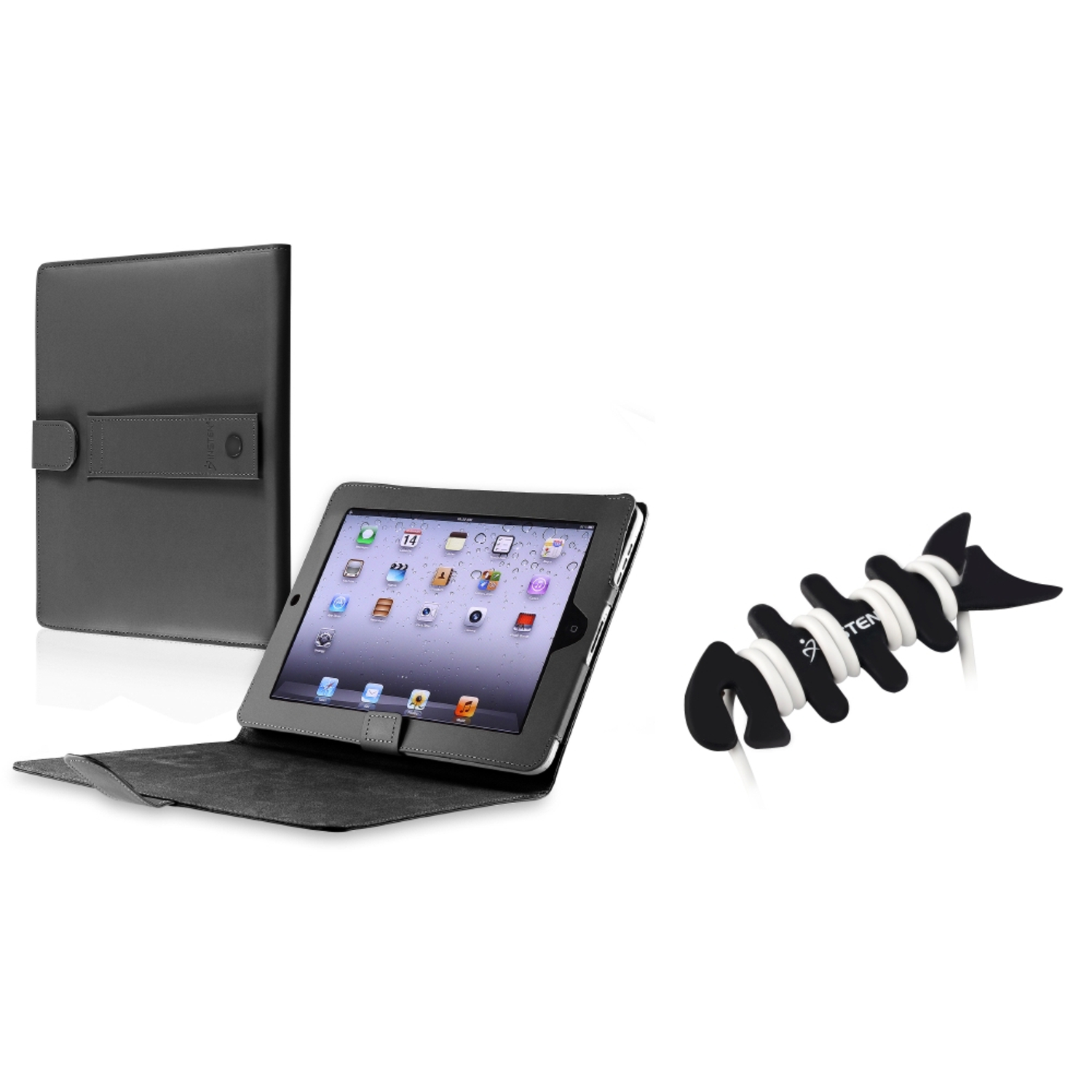 Insten BLACK LEATHER FLIP Case STAND POUCH W/ STAND FOR IPAD 1 1ST GEN+Fishbone Wrap