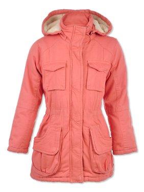 Urban Republic Girls' Furry-Lined Twill Jacket