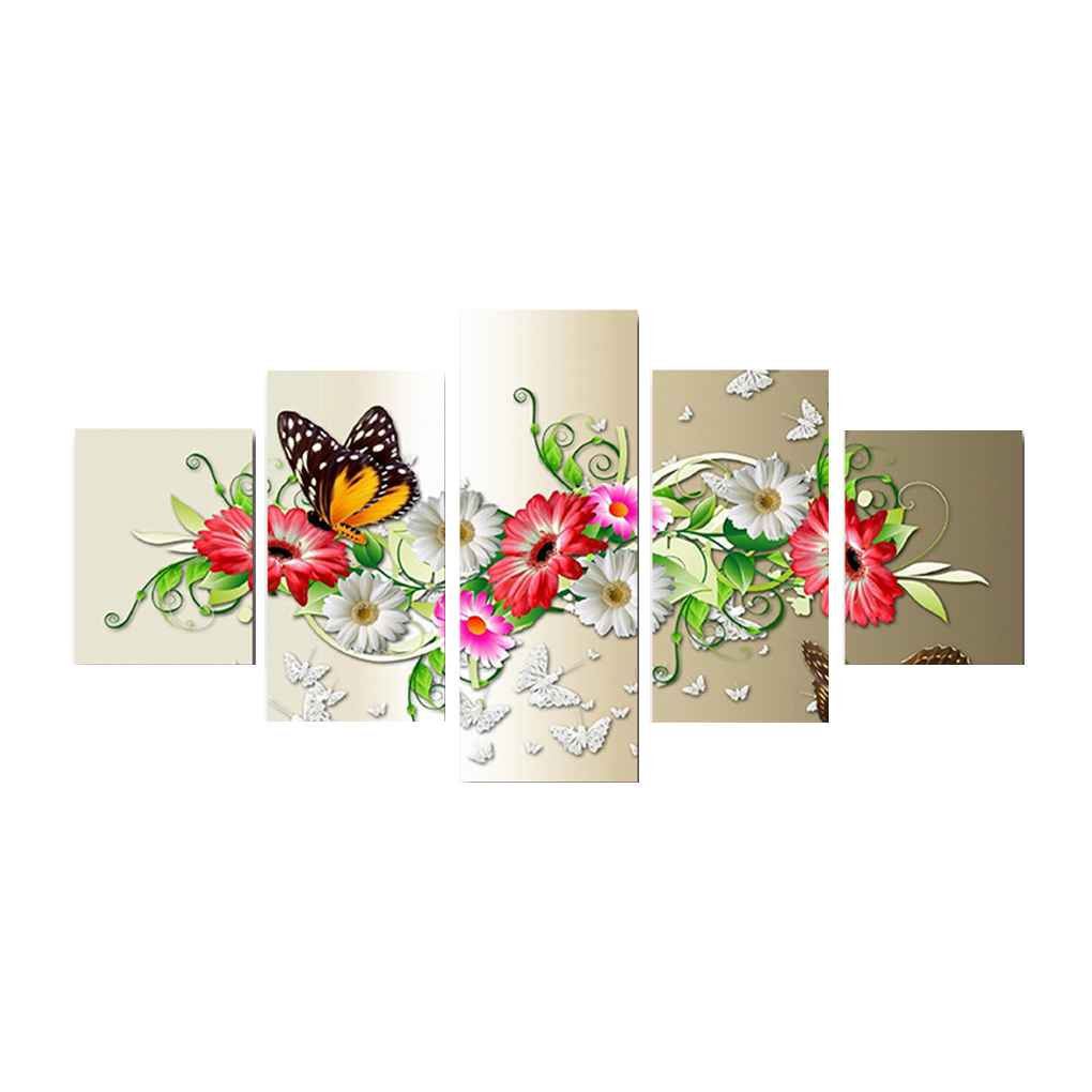 5pcs Set Butterfly Flowers Oil Painting Abstract Unframed Canvas Art Hd Printed Oil Posters Drawing Pictures Walmart Canada