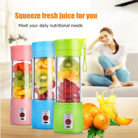 Mini Vegetable juicer Fruit Extractor 380ml Portable Handheld Smoothie Maker Mixer Cup Electric for Outdoor Sporting Camping DIY Bottle USB (Best Juicer For Greens And Fruit)