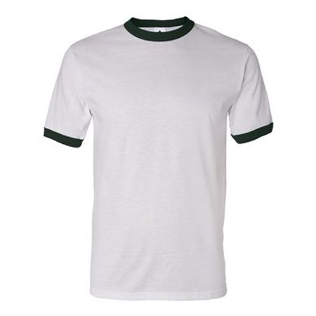(710 ringer t-shirt athletic heather/dark green xl)