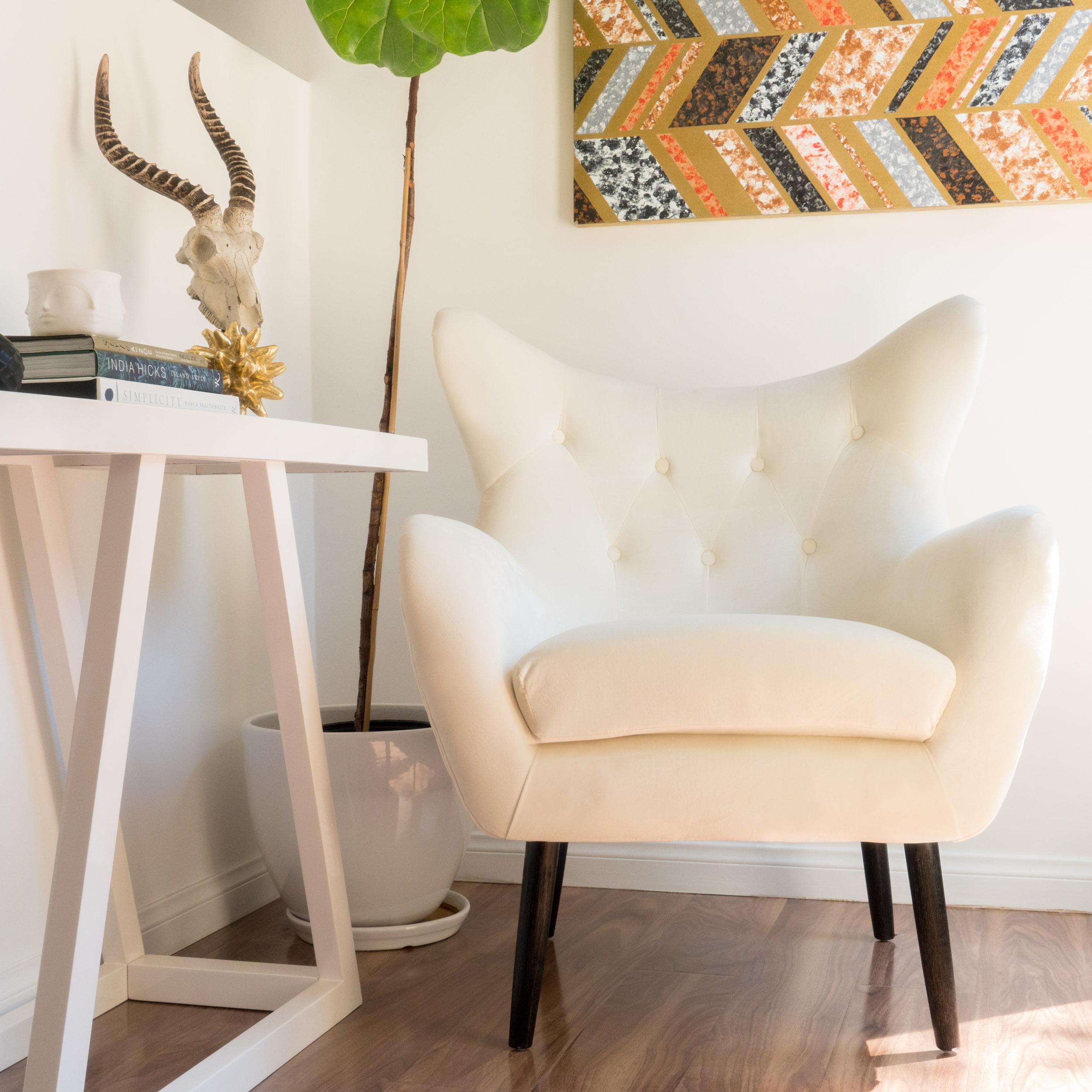 Noble House Simon Ivory Velvet Arm Accent Chair Walmart Com