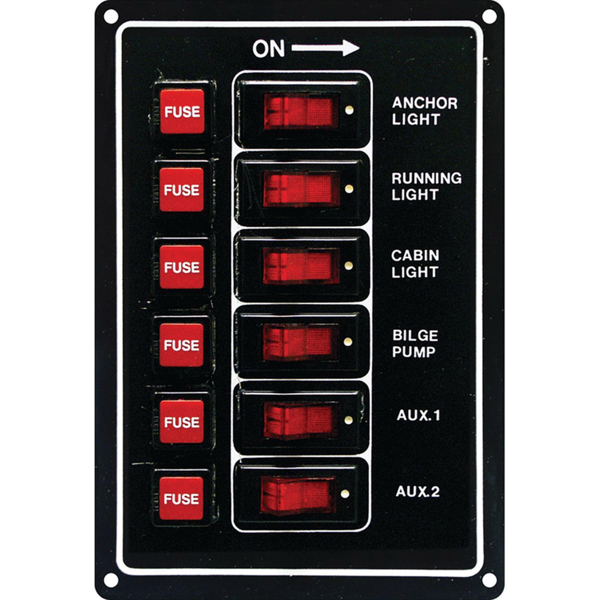 SeaSense 6 Gang 12-Volt Rocker Switch Panel