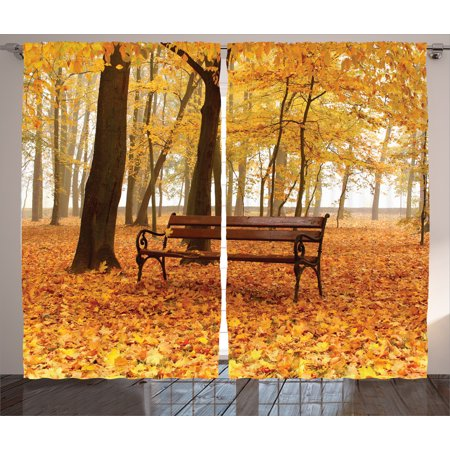 Fall Decor Curtains 2 Panels Set, Rustic Bench in Golden Pale Autumn Park in Mist Day November Love Fall Season Photo, Living Room Bedroom Decor, Orange Brown, by Ambesonne