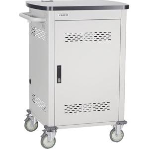 """Black Box 36-Device Chromebook Cart - Single Frame with Medium Slots and Hinged Door - 150 lb Capacity - 4 Casters - 5"""" Caster Size - Steel, Metal - 29.9"""" Width x 25.6"""" Depth x 43.8&#"""