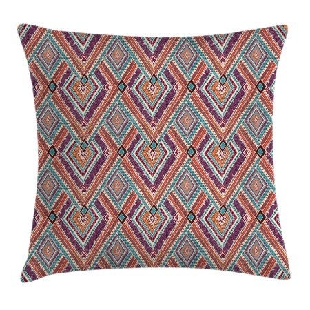 Tribal Decor Throw Pillow Cushion Cover, Native American Retro Diagonal Ethno Pattern with Geometric Shapes Art, Decorative Square Accent Pillow Case, 16 X 16 Inches, Purple and Teal, by Ambesonne - Teal And Purple