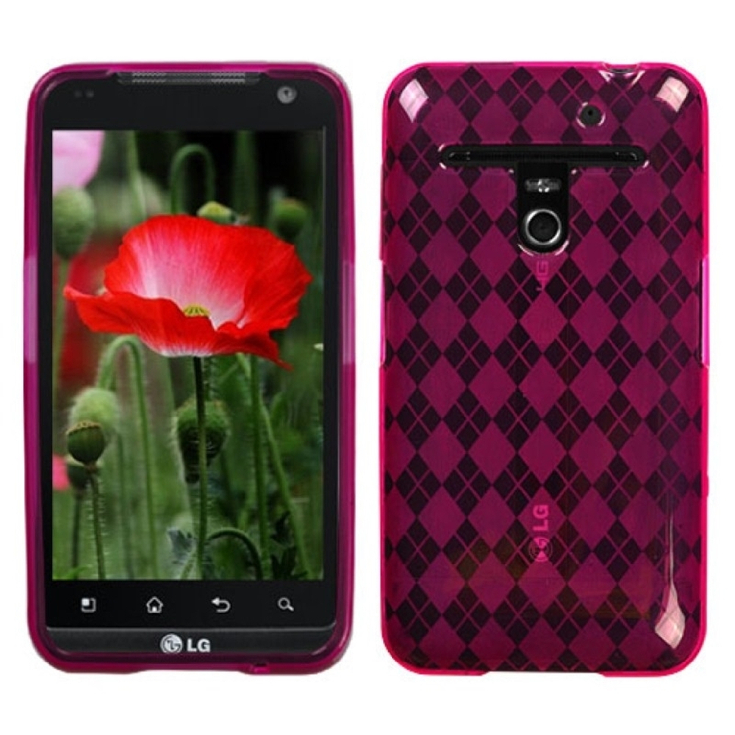 Insten Hot Pink Argyle Candy Skin Case for LG: VS910 (Revolution), Esteem