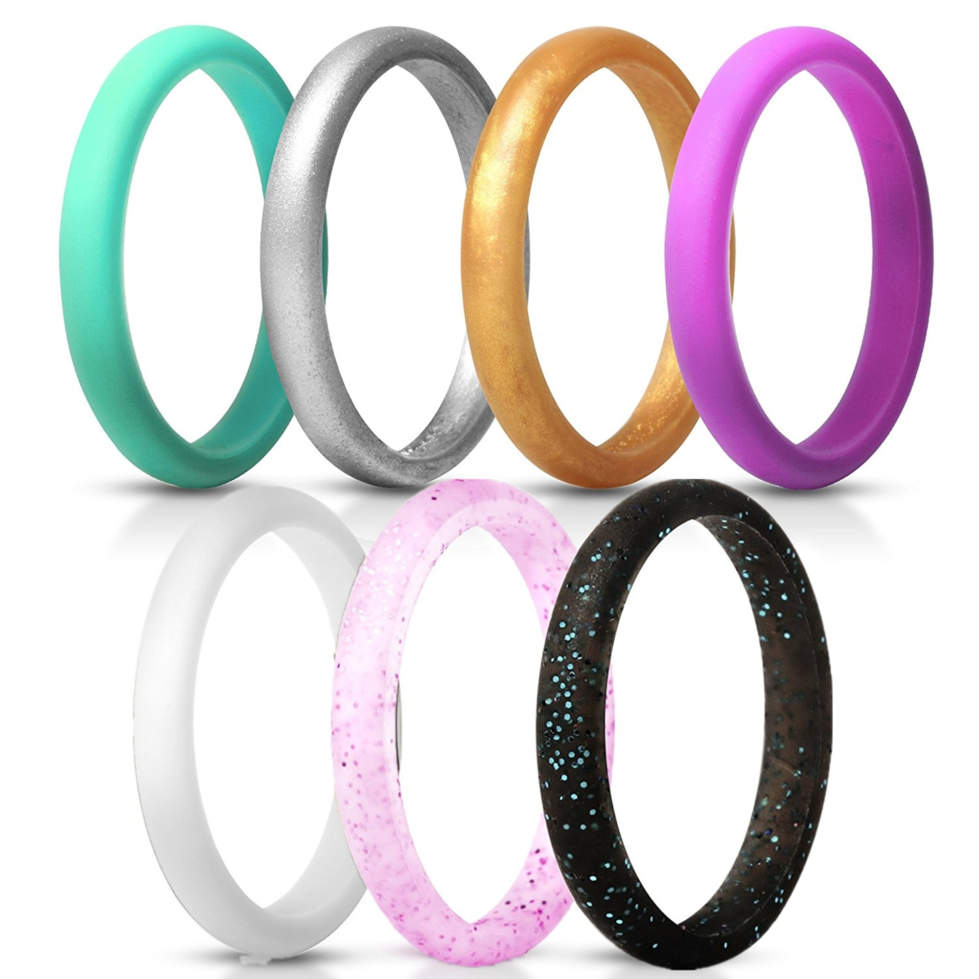 Moretek Silicone Wedding Rings For Men,Silicone Wedding Bands ,7 Rings Pack,Comfortable fit,No-toxic,Skin Safe,Including Colored Styles