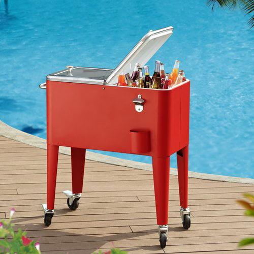 Mainstays 60-Quart Cooler Cart, Red