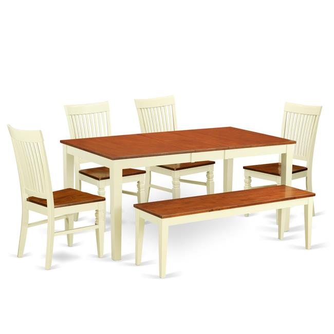 Charmant NIWE6 BMK W 6 Pc Dinette Set With A Dining Table And 4 Seat Dining Chairs  Plus One Bench In Buttermilk And Cherry Finish:Buttermilk U0026 ...