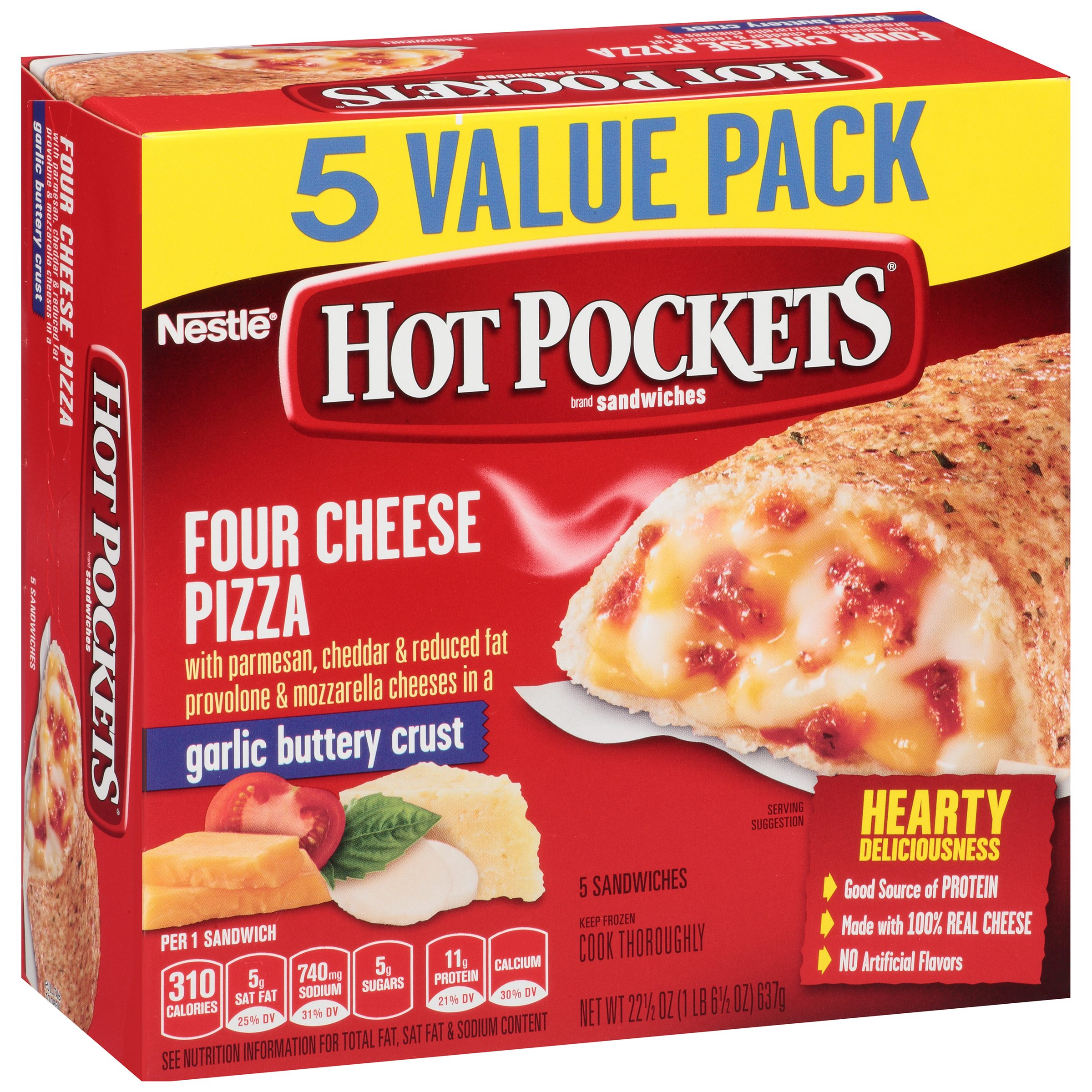 HOT POCKETS Frozen Sandwiches Four Cheese Pizza 5-Pack