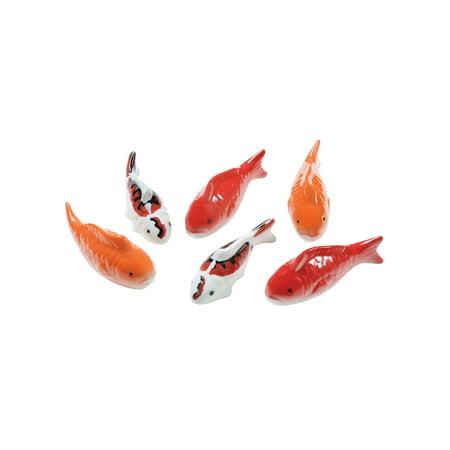 Art & Artifact Ceramic Floating Koi Fish - Set of 6 Multi-Colored Goldfish
