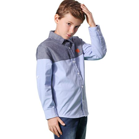 Leo&Lily Boys' Long Sleeve Casual England Classic Oxford Button Down -