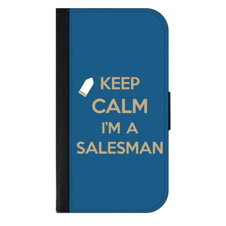 Keep Calm I'm a Salesman - Wallet Style Cell Phone Case with 2 Card Slots and a Flip Cover Compatible with the Apple iPhone 7 Plus and 8 Plus