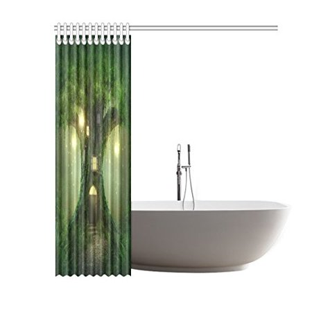 GCKG Foggy Forest Tree Shower Curtain Hooks 60x72 inches Green Fabric Enchanted Tree House in the Foggy Forest with Fireflies & Lamps - image 3 of 3