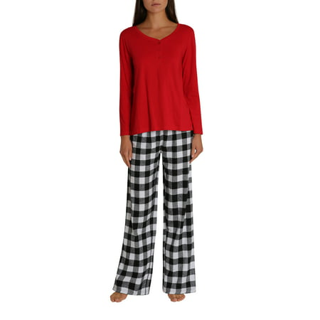 Woman Womens Flannel PJ Plus Size Pant Set with Cotton Crew Henley Button Down Pajama Shirt - Red with Black and White Buffalo Check - 2X