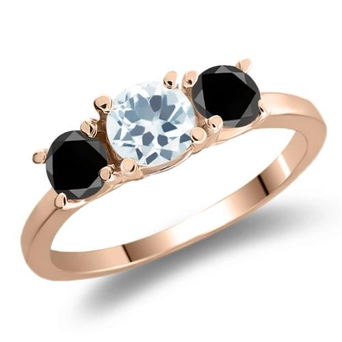 0.99 Ct Round Sky Blue Aquamarine Black Diamond 925 Rose Gold Plated Silver Ring