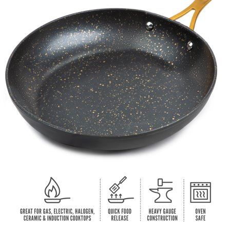 """Thyme & Table Non-Stick 8"""" Inch Gold Fry Pan with Stainless Steel Induction Base"""