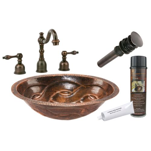 "Premier Copper Products BSP2_LO19FBDDB 12"" Copper Undermount Bathroom Sink with"