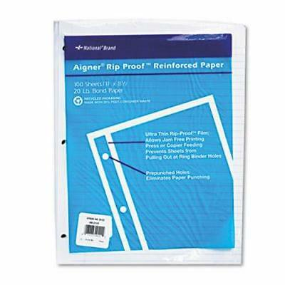 Rip Proof College Ruled Reinforced Filler Paper, Letter, 100 Sheets - Rip Proof Reinforced