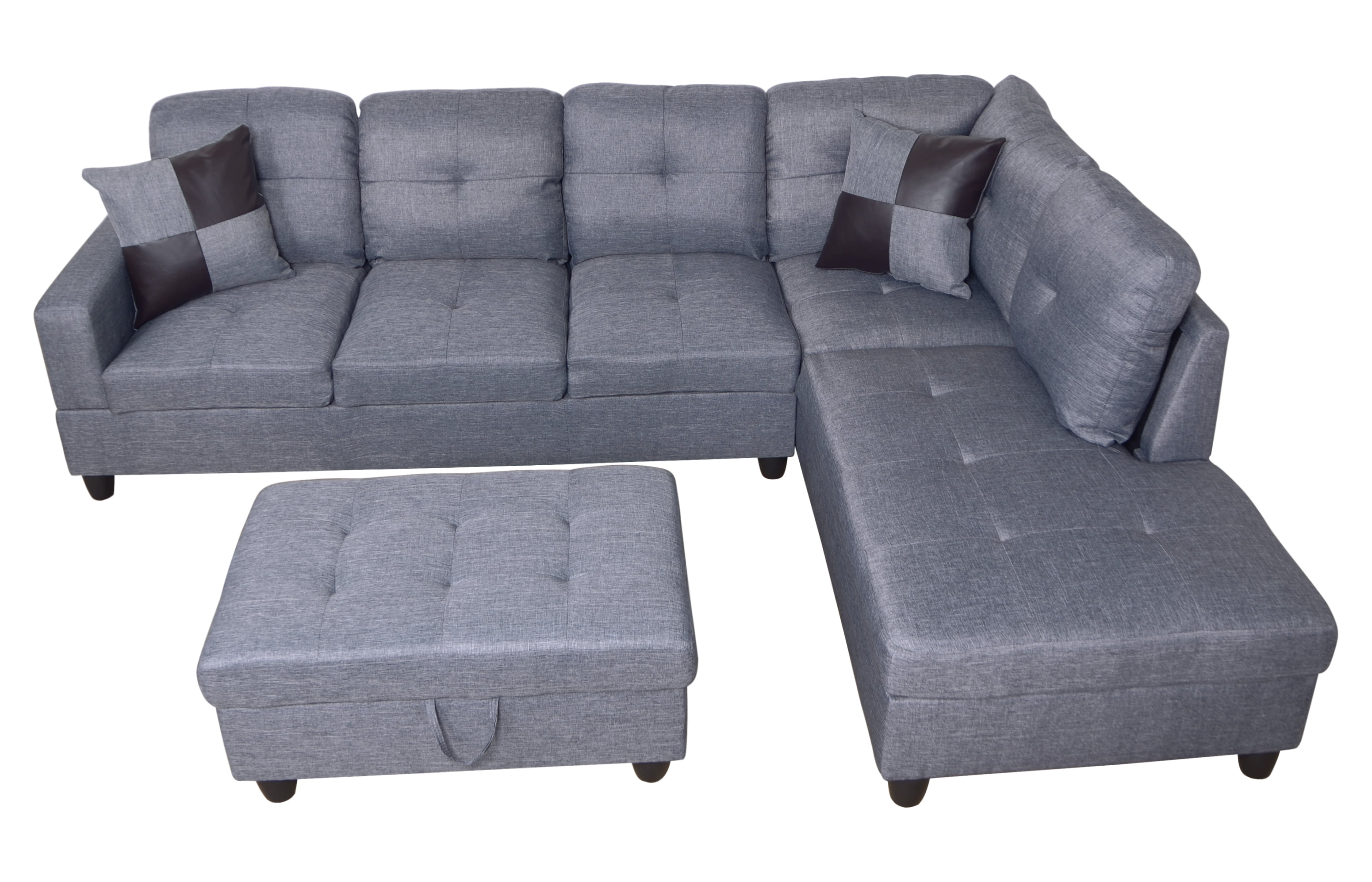 Ult Gray Microfiber Sectional Sofa