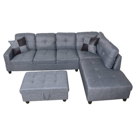 ULT Gray MicroFiber Sectional Sofa, Right Facing Chaise, 74.5