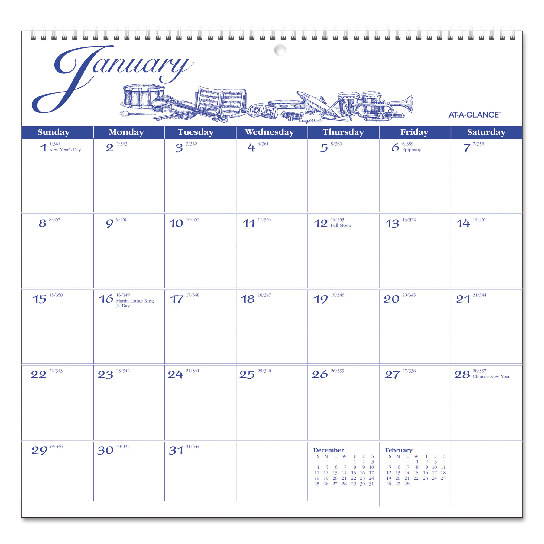 AT-A-GLANCE 12-Month Illustrator's Edition Wall Calendar, 12 x 11 3/4, Illustrations, 2018