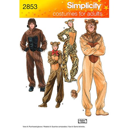 Simplicity Pattern Adult Gorilla/Lion/Bear/Cat Costume, (XS, S, M, L, XL) - Cat Halloween Costume Pattern