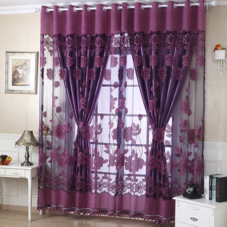 NK Home Luxury Floral Tulle Door Window Curtain With Beads Drape Panel Sheer Scarf Valances Divider Room Decorative 1x2.5m Coffee Purple (Custom Beaded Door Curtains)