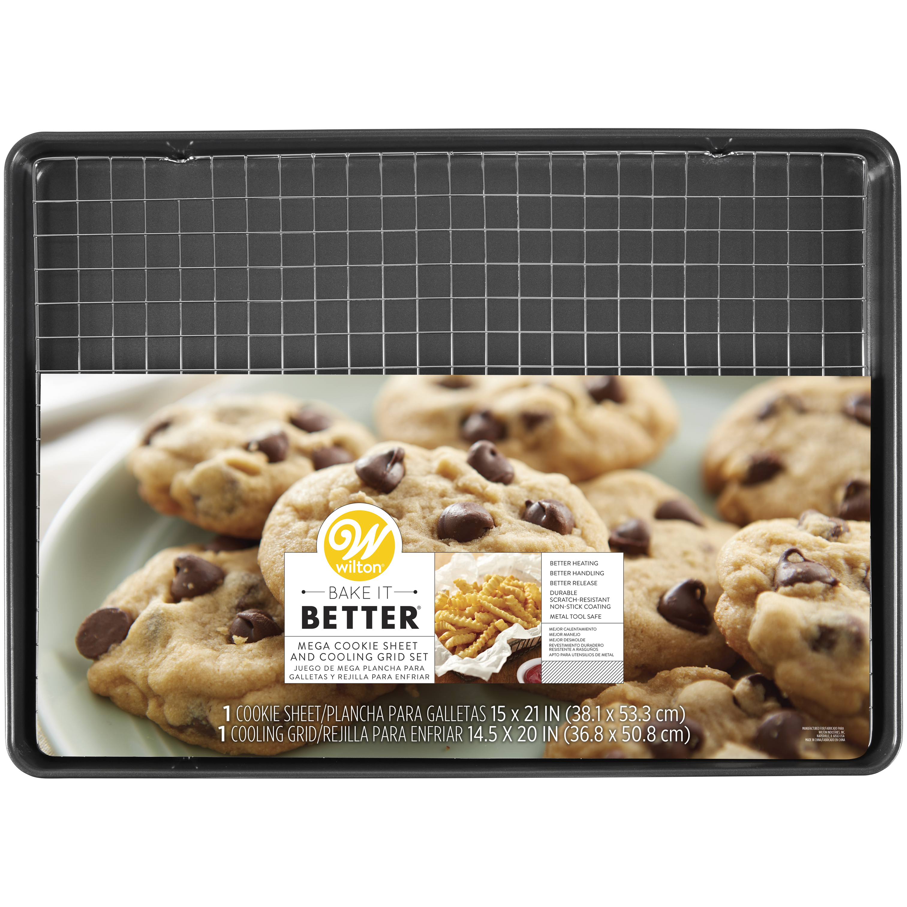 Wilton Bake It Better Non-Stick Mega Cookie Pan and Chrome Cooling Grid Set