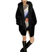 Women's M Shawl Collar Black Plush Winter Hoodie Coat