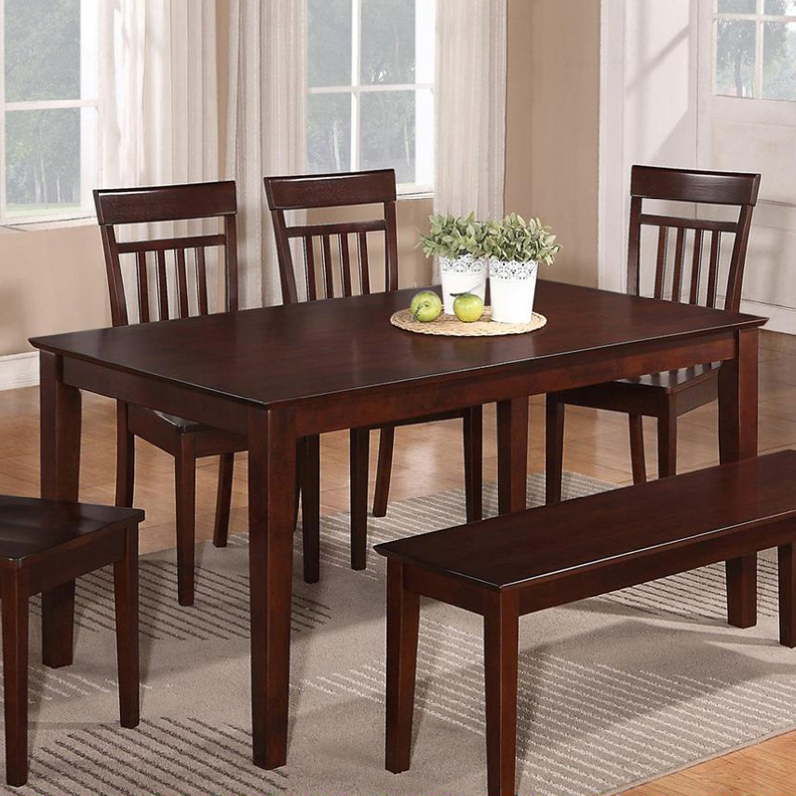 East West Furniture Capri Solid Wood Top Rectangular Dining Table