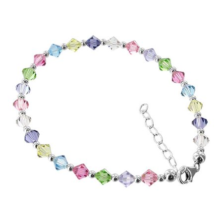 Gem Avenue Sterling Silver Multicolor Bicone Crystal Anklet Swarovski Elements