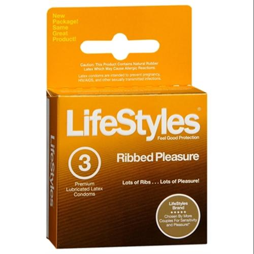LifeStyles Ribbed Pleasure Condoms Lubricated Latex 3 Each (Pack of 3)