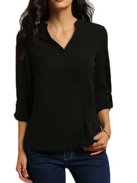 Women's Plus Size V Neck Loose Chiffon Long Sleeve Casual Shirts