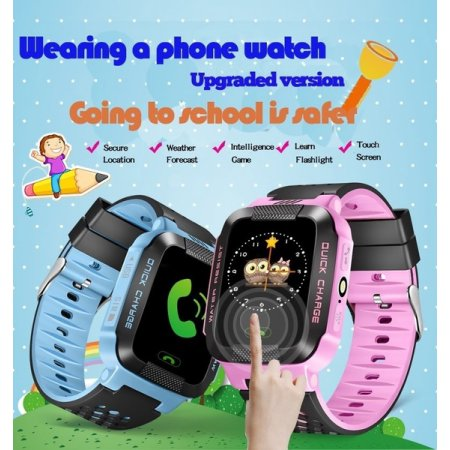 Kids Smartwatches with GPS Flash Night Light Touch Screen Anti-lost Alarm Smart Watch Bracelet for Children Girls Boys Compatible for iPhone Android